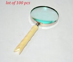 Brass Antique Magnifier Magnifying Glass Mother Of Pearl Table Top Collectible