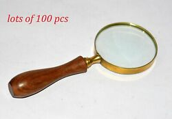 Antique Brass Magnifying Glass Home/office Table Decor Lot Of 100 Pcs