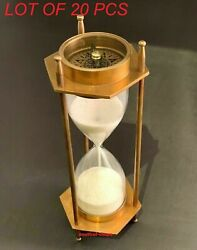 Nautical Antique Solid Brass Both Side Compass Table Top Sand Timer Replica Item