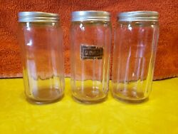 Vintage Lot Of 3 Small Hoosier Spice Jars And Lids