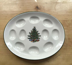 Vintage Cuthbertson Original Christmas Tree Green Band Deviled Egg Tray Plate