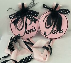 Pair Of Paris French Home Decor Plaques Wall Hanging Ribbons Pink Black Glitter
