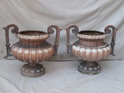 Antique Pair French Cast Iron Pots / Urns / Planters With Handles