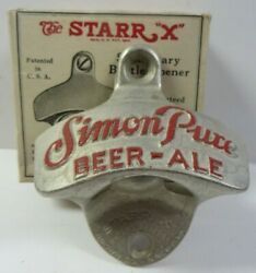 Vintage 1940's Simon Pure Beer Ale Starr X Wall Mounted Bottle Opener New In Box