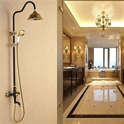 Black And Gold Brass Bathroom Wall Mount Exposed Vertical Shower