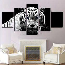 Modern Home Bedroom Wall HD White Tiger Art Picture Spray Painting 5PCS Decor