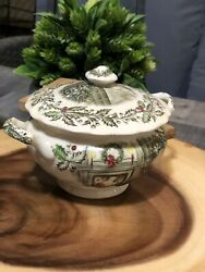Sugar Bowl And Lid Merry Christmas A Genuine Hand Engraving By Johnson Brother