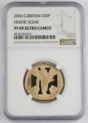 Great Britain 2006 50 Pence Heroic Scene 1/2 Oz 22k Gold Proof Coin Ngc Pf69 Uc
