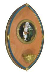 French Limoges Enamel And Bronze Font Depicting Mary And Jesus