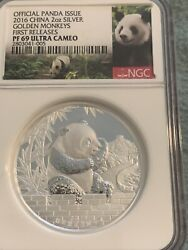 2016 Lunar Panda Year Of The Monkey Proof Ngc Pf69 2oz Silver Coin First Release