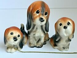 Vintage Basset Hound Figurine Chain Family Sweet Faces