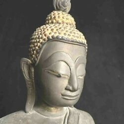 Very Large Antique Southeast Asian Cambodian Or Lao Bronze Buddha 17th-18th C