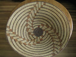 Very Large Beautiful Vintage 30 X 8 African Hand Made Spiral Coiled Basket