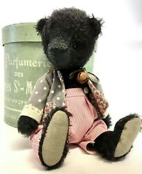 Archie, A Handmade One Of A Kind Collectable 100 Mohair Vintaged Black Bear