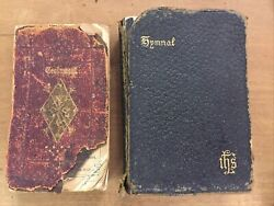 Rare 1868 Oxford New Testament Bible And 1880 Hymnal Pocket Size Leather Sn1900