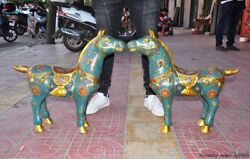 Old Chinese Bronze Copper Cloisonne Fengshui War Horse Steed Horses Statue Pair