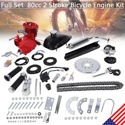 Red 80cc 2-stroke Gas Motor Motorized Engine Bike Bicycle Moped Scooter Full Kit