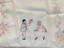 Hand Embroidered 35 Tableclothpierrot Harlequin Clown Balloons Ladyflowers