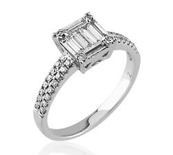 0.66ct Natural Diamond Ring18 Carat White Gold Solitaire With Accents Wedding