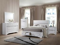 Contemporary Queensize White Color Bed Bedroom Furniture Panel Headboard 4pc Set