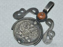 Antique Russian Imperial Sterling Silver 84 Women Jewelry Pendant Coral 9.2 Gr