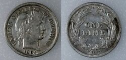 1905-o Barber Dime Scarce New Orleans Mint Coin Xf+ Details 10c Silver Liberty