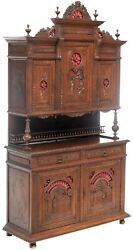 Antique Cabinet / Sideboard French Breton Figural Scenes Heavily Carved 1800s