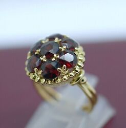 Antique Vintage Victorian Art Deco Solid Gold Ring Set With Garnet Jewellery