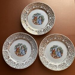 Hk China 3 Plates Colonial Couple Design 22k Gold Rim 6 3/4 In Vintage Set Of 3