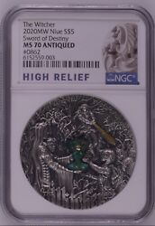 Ngc Ms70 2020 2nd Coin The Witcher Sword Of Destiny Silver Coin 2oz Niue Coa