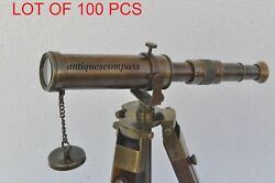 Antique Nautical Vintage Decorative Solid Brass With Wooden Tripod Telescope 27