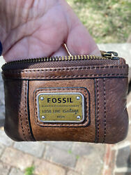 Fossil Leather Coin ID Purse quot;Long Live Vintagequot; 1954 Aged Brown Leather $19.99