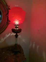Banquet/ Gone With The Wind Lamp Ruby Roses 1800's Oil Electrified