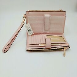 Michael Kors Jet Set Large Double Zip Wristlet Wallet Power Blush $79.99