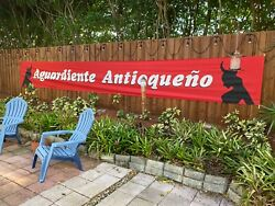 Arguardiente Antioqueno Huge Bull Fight Red Banner Colombian Girl Liquor Poster