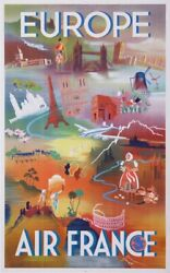 Falcucci Robert Air France Europe 1949 Vintage Poster