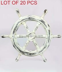 Black White Antique Nautical Handcrafted Wooden Ship Wheel 18inches Handmade