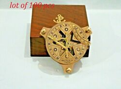 Nautical Brass 4inch Star Cut Dial London Sundial Compass With Wooden Box