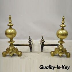 Antique Beethoven Faces French Brass Bronze Cannonball Finial Andirons Marked Gf