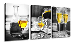 Wine Glass Canvas Wall Art Wine Pictures Wall Paintings for Dining Room Bar