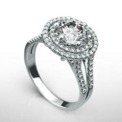 Halo Diamond Ring 6 Prong Natural Side Stones 1.75 Ct 18 Kt White Gold Womens
