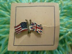 Military Ornaments Uk And Usa Crossed Flags Brooch Badge New- 1 Pcs