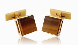 Vintage French 18k Yellow Gold And Tigerand039s Eye Cube Cufflinks C. 1960s