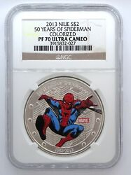 2013 Niue 2 - 50 Years Of Spiderman Official Marvel Ngc Pf70 Ultra Cameo, Coa