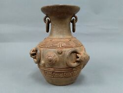 Mexican Mayan Aztec Red Clay Ring Handle Pottery Vase With Fish