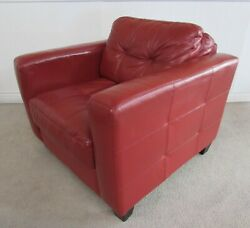 Burgundy Double Stitched Leather Pillow Back Even Arm Club Chair