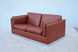 Vintage Mid-century Modern Milo Baughman Style Brown Pu Leather Two-seat Settee