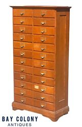 20th C Antique Arts And Crafts Tiger Oak E.h Stafford 24 Drawer File Cabinet