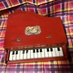 Toy Piano Red Antique Vintage Keyboard Wood Used Interior Sundry Goods Kids