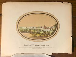 Rare Htf Color Lithograph View Annapolis Maryland 1791 Chase And Town 1871 Gift Nr